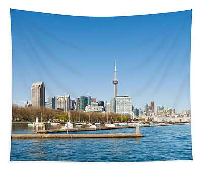 City Skyline At The Waterfront Tapestry