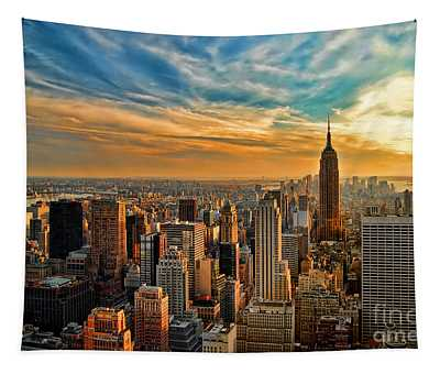 City Sunset New York City Usa Tapestry