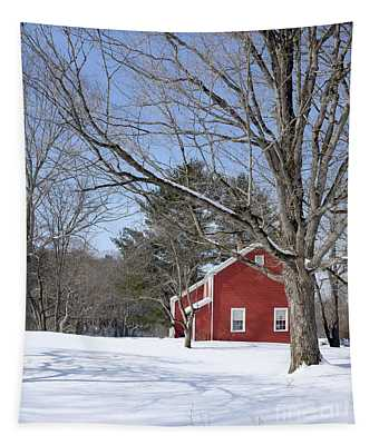 Classic Vermont Red House In Winter Tapestry