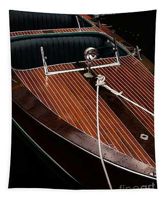 Classic Wooden Power Boat Tapestry