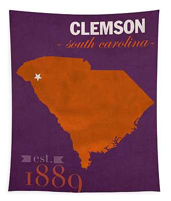 Clemson University Tigers College Town South Carolina State Map Poster Series No 030 Tapestry