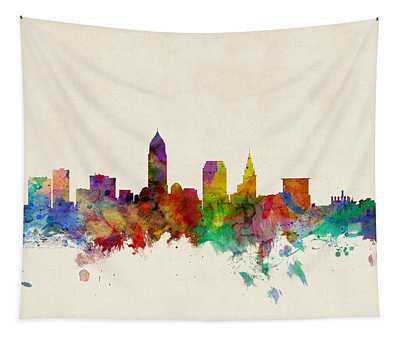 Cleveland Ohio Skyline Tapestry