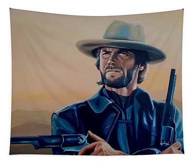 Clint Eastwood Painting Tapestry