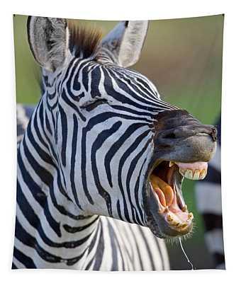 Close-up Of A Zebra Calling, Ngorongoro Tapestry