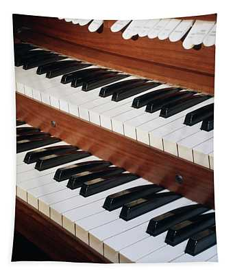 Close Up Of Organ Dual Keyboard & Stops Tapestry