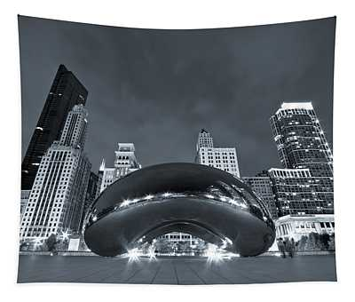 Cloud Gate And Skyline - Blue Toned Tapestry