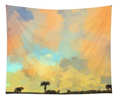Clouds And Sunset Over Beach Dunes Tapestry