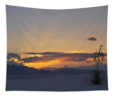 Clouds Over A Desert At Sunset, White Tapestry