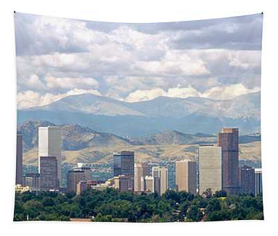 Clouds Over Skyline And Mountains Tapestry