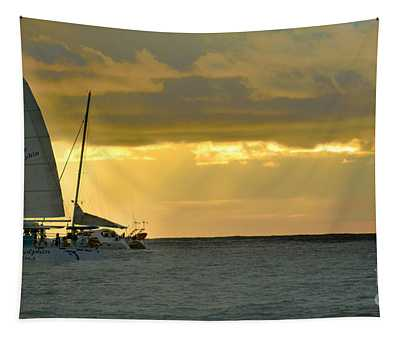 Tapestry featuring the photograph Coastal Catamaran Sunset by Gary Keesler