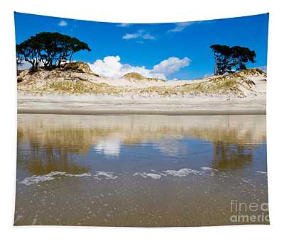 Coastal Sand Dune Reflections On Beach At Low Tide Tapestry
