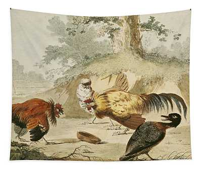 Cocks Fighting Tapestry
