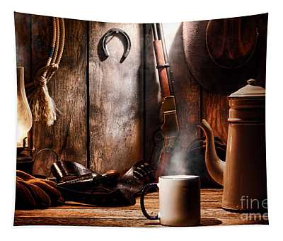 Coffee At The Cabin Tapestry