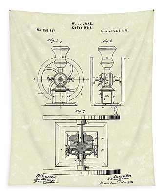 Coffee Mill 1875 Patent Art Tapestry