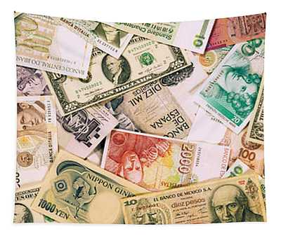 Collection Of Currencies Of Various Tapestry