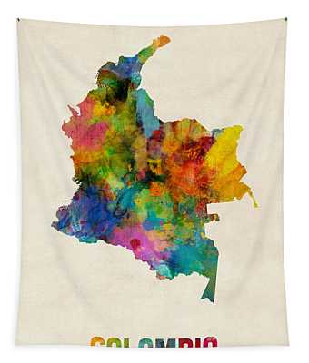 Colombia Watercolor Map Tapestry by Michael Tompsett
