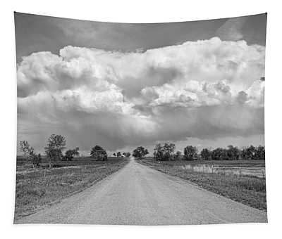 Colorado Country Road Stormin Bw Skies Tapestry