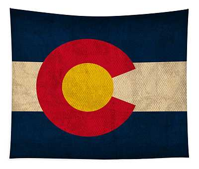 Colorado State Flag Art On Worn Canvas Tapestry