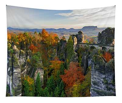 Colorful Bastei Bridge In The Saxon Switzerland Tapestry