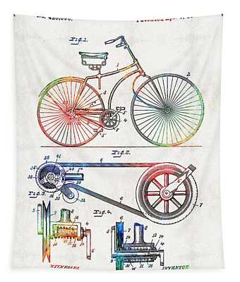 Colorful Bike Art - Vintage Patent - By Sharon Cummings Tapestry