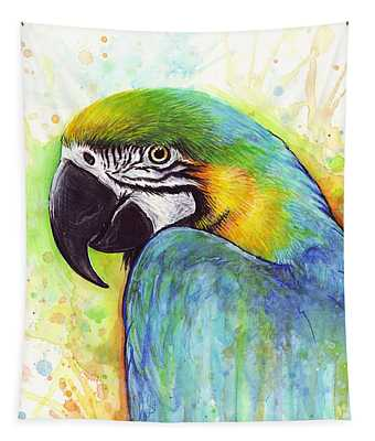 Macaw Watercolor Tapestry