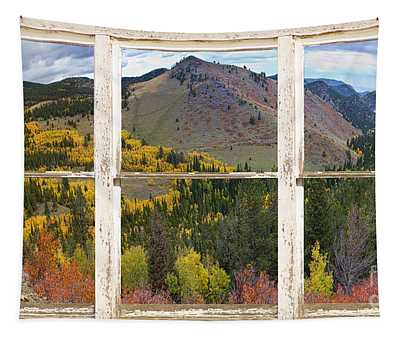 Colorful Colorado Rustic Window View Tapestry