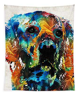 Colorful Dog Art - Heart And Soul - By Sharon Cummings Tapestry