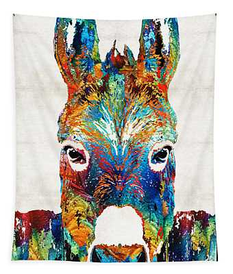 Colorful Donkey Art - Mr. Personality - By Sharon Cummings Tapestry