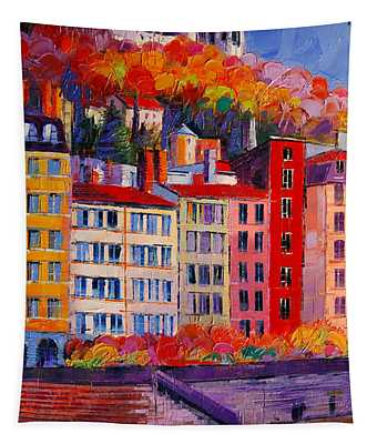 Colorful Facades On The Banks Of Saone - Lyon France Tapestry