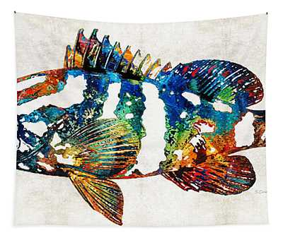 Colorful Grouper 2 Art Fish By Sharon Cummings Tapestry