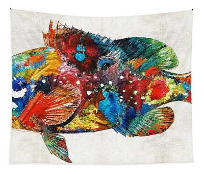 Colorful Grouper Art Fish By Sharon Cummings Tapestry