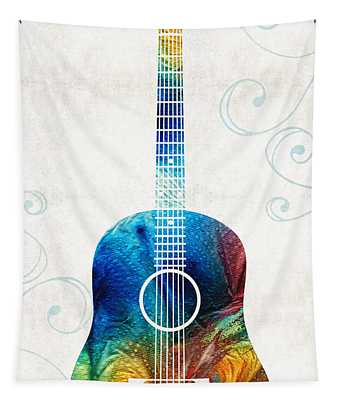Colorful Guitar Art By Sharon Cummings Tapestry