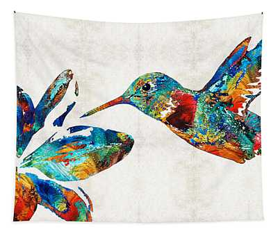 Colorful Hummingbird Art By Sharon Cummings Tapestry