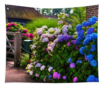 Colorful Hydrangea At The Gate. Giethoorn. Netherlands Tapestry