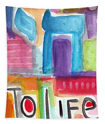 Colorful Life- Abstract Jewish Painting Tapestry
