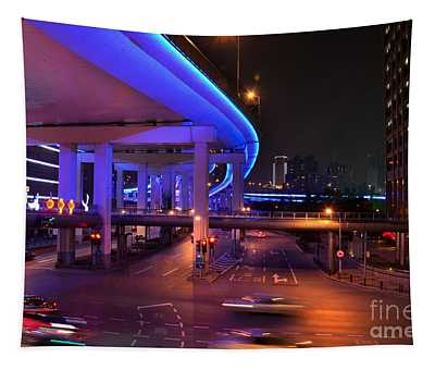 Colorful Night Traffic Scene In Shanghai China Tapestry