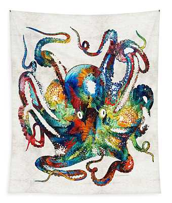 Colorful Octopus Art By Sharon Cummings Tapestry