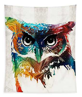 Colorful Owl Art - Wise Guy - By Sharon Cummings Tapestry