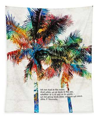 Colorful Palm Trees - Returning Home - By Sharon Cummings Tapestry