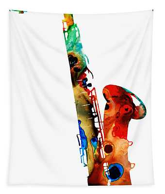 Colorful Saxophone By Sharon Cummings Tapestry