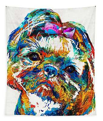 Colorful Shih Tzu Dog Art By Sharon Cummings Tapestry