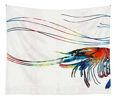 Colorful Shrimp Art By Sharon Cummings Tapestry