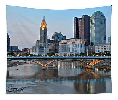 Columbus Ohio As The Lights Come On Tapestry