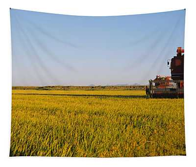 Combine In A Rice Field, Glenn County Tapestry