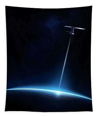 Communication Between Satellite And Earth Tapestry