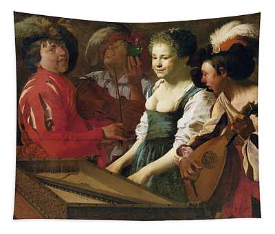 Concert, 1626 Oil On Canvas Tapestry