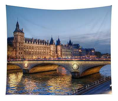 Conciergerie And Pont Napoleon At Twilight Tapestry