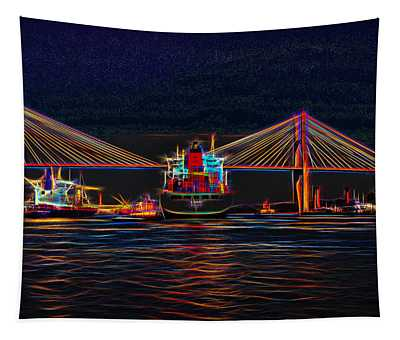 Container Ship Arriving At Savannah Tapestry