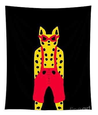 Cool For Cats In Red Dungarees Tapestry