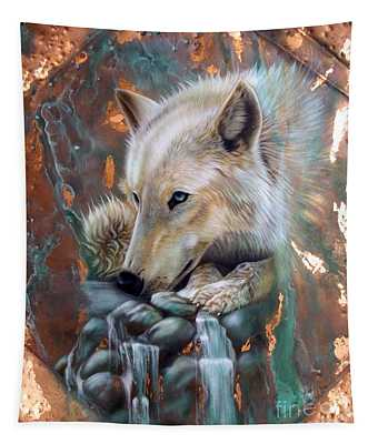 Copper Arctic Wolf Tapestry